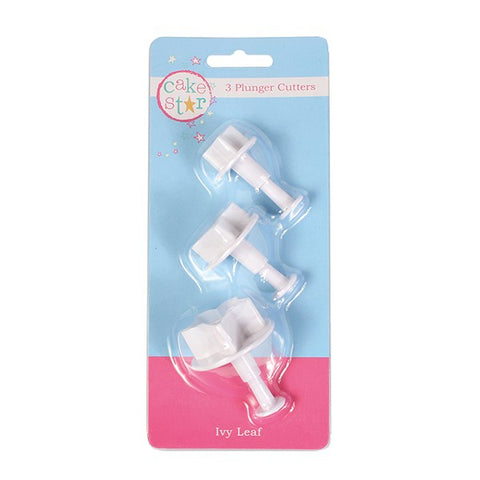 Cake Star Plunger Cutter Ivy 3 Piece with built in veiner