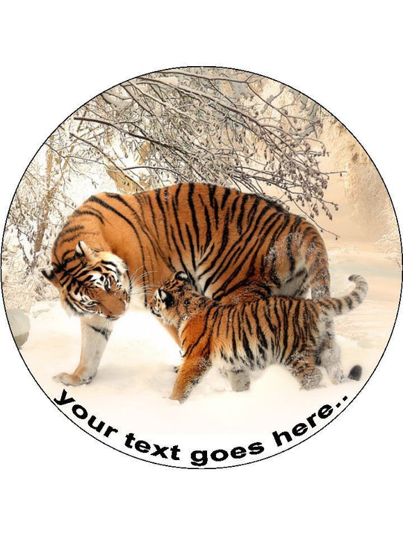 Tiger cub nature wild animal Personalised Edible Cake Topper Round Icing Sheet