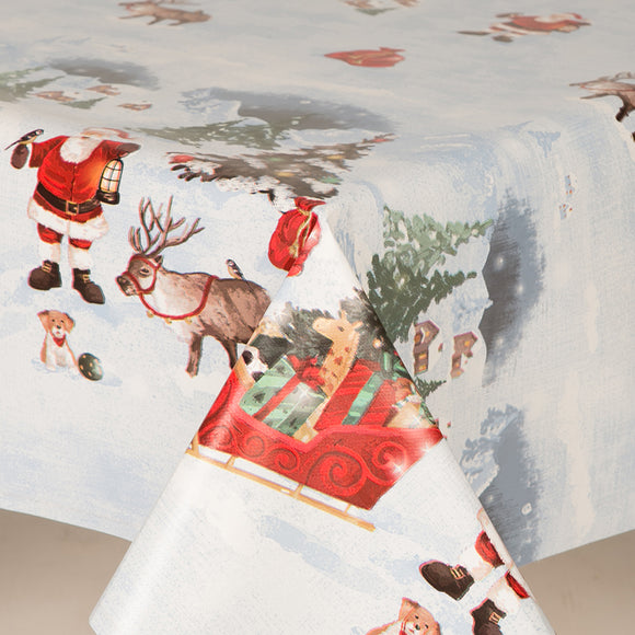 Traditional Christmas Lapland PVC Wipe Clean Vinyl Table Covering / Table Cloth