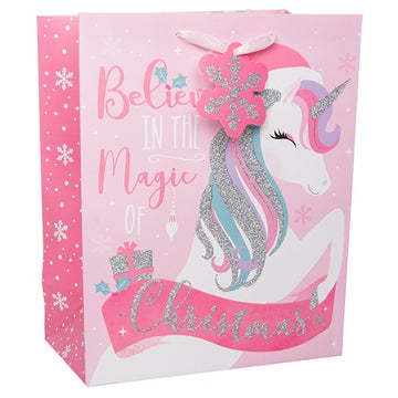 Unicorn Christmas Pink & Glitter Gift Bag with Snowflake Tag.