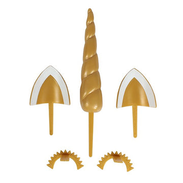 Unicorn DecoSet - 5 piece Unicorn Horn, Eyes and Ears Plastic Cake Topper Set Gold Colour