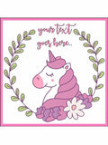 Unicorn Fantasy Pink Pretty Personalised Edible Cake Topper Square Icing Sheet