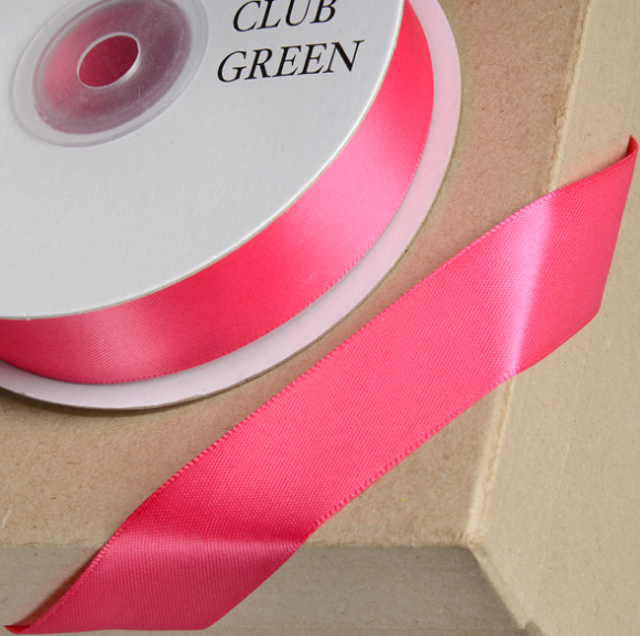 Double Sided Satin Ribbon Fuchsia Pink 10mm