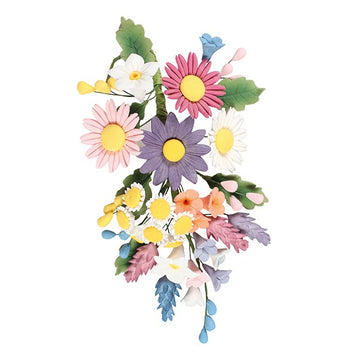 Wild Flower Colourful Celebration Cake Floral Sugar Spray - 180 x 130mm