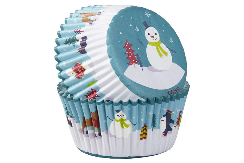 Wilton Christmas Standard Cupcake Baking Cases - Snowman and Friends - Pack of 75 - The Cooks Cupboard Ltd