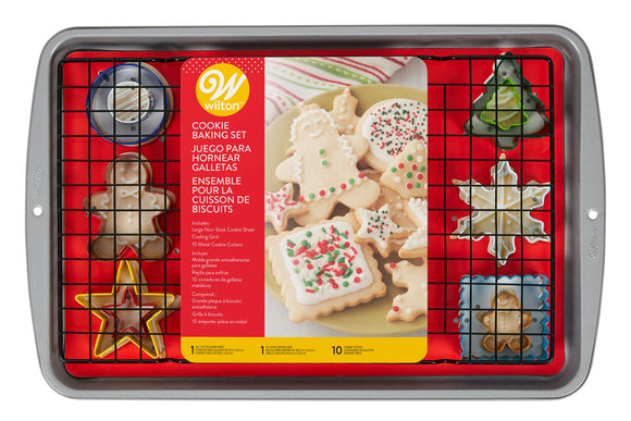 Wilton Cookie Baking Set - Set of 12 - Includes Cutters, Baking Sheet and Cooling Rack