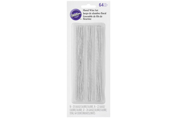Wilton Floral White Sugarcraft Wire Set - 64 Pieces