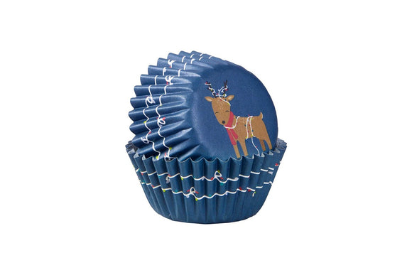 Wilton Mini Cupcake Baking Cases - Christmas Reindeer with Lights - Pack of 100