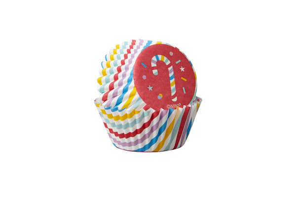Wilton Mini Cupcake Baking Cases - Christmas Candy Canes - Pack of 100
