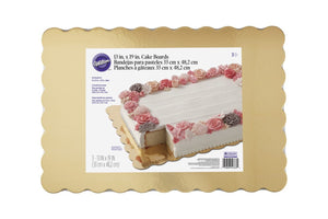 "Wilton Scalloped Rectangle Gold Cake Boards - Pack of 3 - 13"" X 9"""