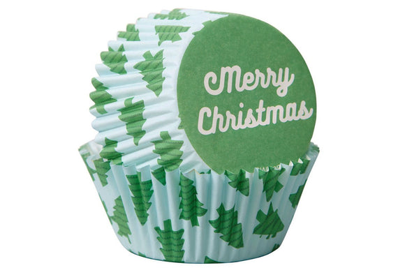 Wilton Cupcake Baking Cases - Scattered Christmas Trees - Pack of 75