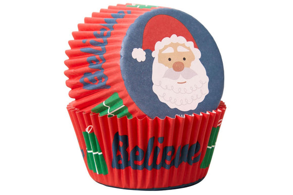 Wilton Standard cupcake Baking Cases - Believe Father Christmas - Pack of 75