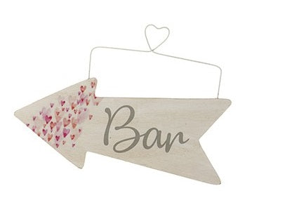 Wooden Event Arrow With Tiny Hearts and Wire Hanger - BAR