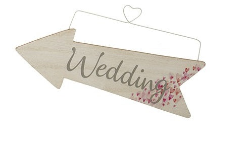 Wooden Event Arrow With Tiny Hearts and Wire Hanger - WEDDING