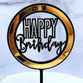 Happy Birthday Circular Black & Gold Acrylic Cake Topper