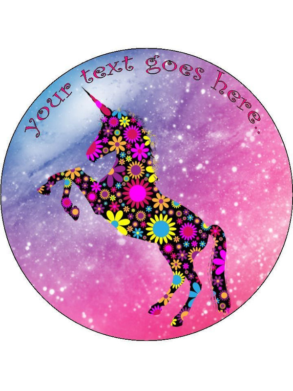 Unicorn floral pink rainbow girly Personalised Edible Cake Topper Round Icing Sheet