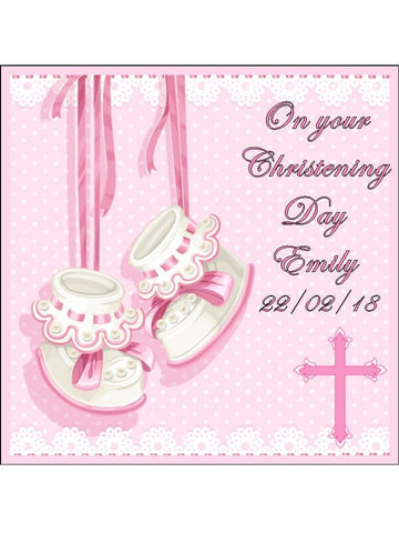baby girl christening day Personalised Edible Cake Topper Square Icing Sheet