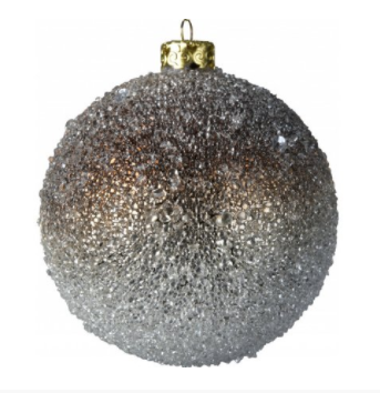 Water Droplet Style Hanging Christmas Bauble with Silver and Brown Ombre Finish