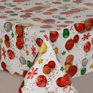 Festive Baubles PVC Wipe Clean Vinyl Table Covering / Table Cloth