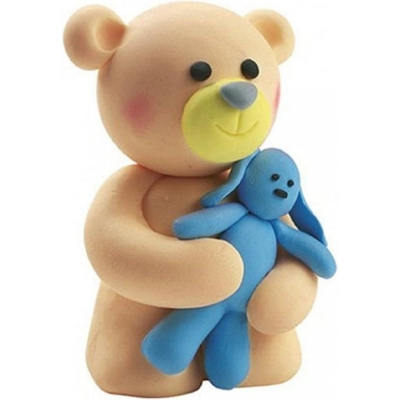 Teddy Bear Holding Blue Rabbit Clay Cute Cake Topper