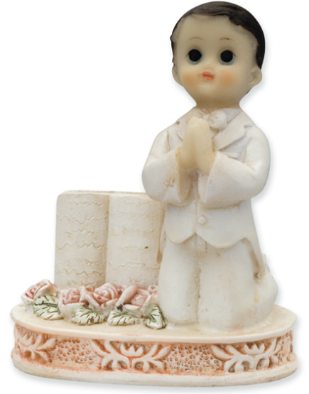 Praying Boy with Bible Communion Cake Topper