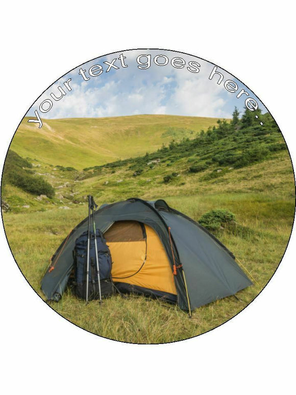 camping tent outdoor Personalised Edible Cake Topper Round Icing Sheet