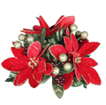 Gisela Graham Poinsettia, Leaf and Berry Festive Candle Ring
