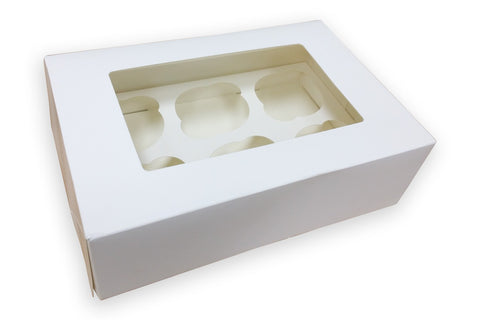 "6 Count White Cupcake Box 3"" Deep"