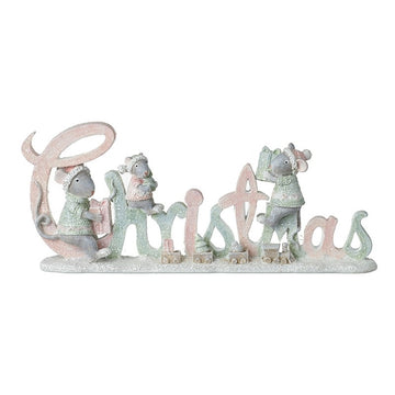 Christmas Mice Festive Standing Ornament in Soft Pink and Sage