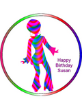 disco Dancing woman Retro Personalised Edible Cake Topper Round Icing Sheet