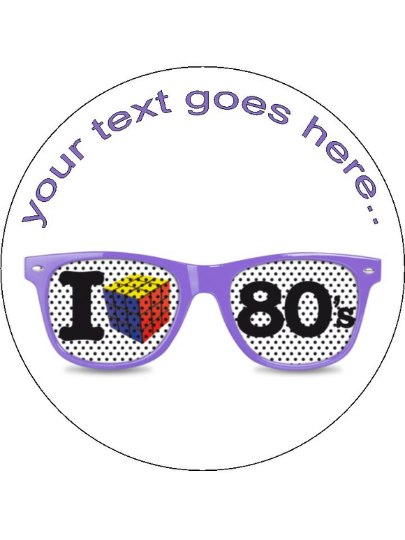 disco boogie shades 80's Personalised Edible Cake Topper Round Icing Sheet