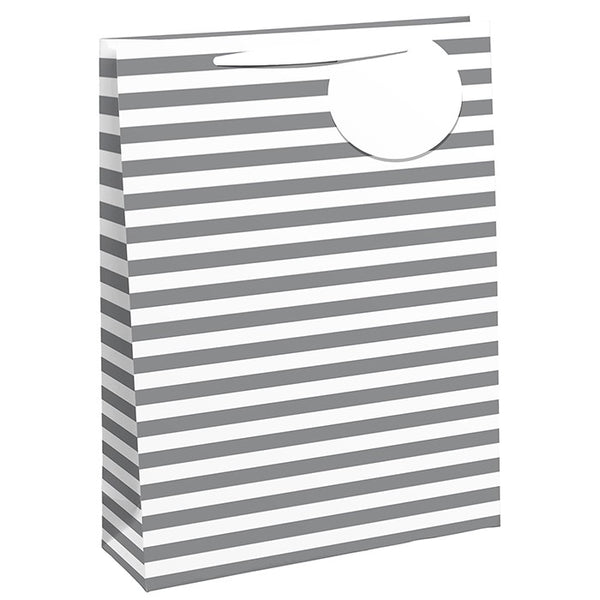White & Silver Striped Gift Bag