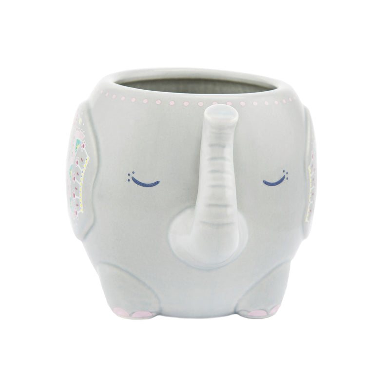Sass and Belle Mandala Elephant Mug in Grey - The Cooks Cupboard Ltd
