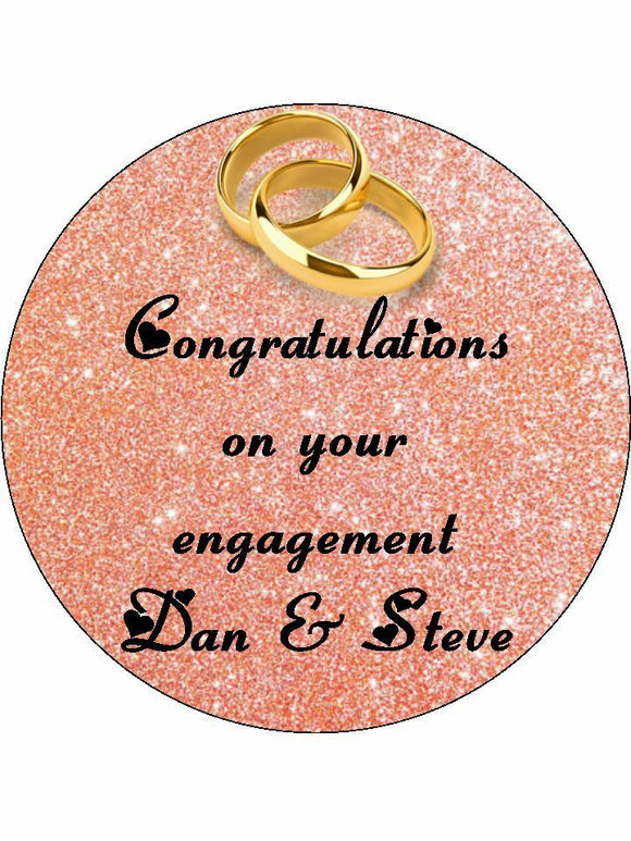 Engagement rose gold rings Personalised Edible Cake Topper Round Icing Sheet