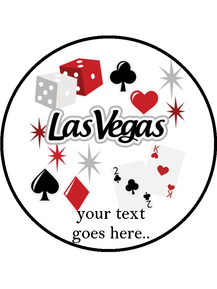 Las Vegas Dice & Cards Personalised Edible Cake Topper Round Wafer Card