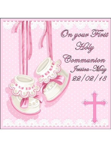 girls holy communion pink Personalised Edible Cake Topper Square Icing Sheet