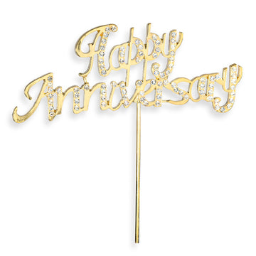 Happy Anniversary Gold Diamante Cake Topper