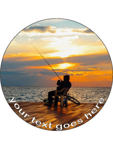 Fisherman Fishing Hobby Personalised Edible Cake Topper Round Wafer Paper