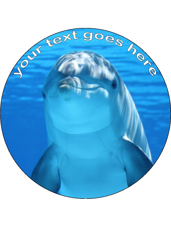 Dolphin Personalised Edible Cake Topper Round Wafer Card
