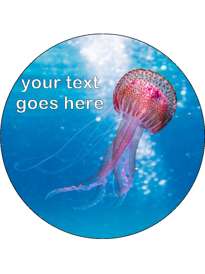 Jelly Fish Marine Personalised Edible Cake Topper Round Wafer Paper