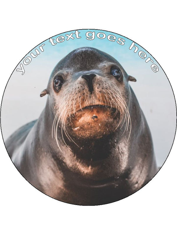 Seal Cute Pup Personalised Edible Cake Topper Round Wafer Paper