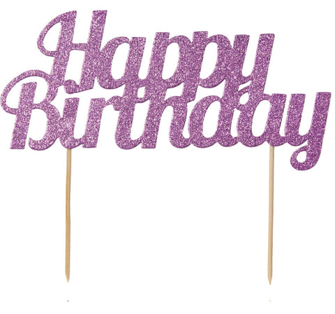 Gold Glitter Happy Birthday Cake Topper