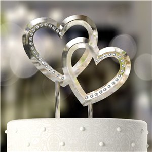 Double Heart Wedding / Engagement Cake Topper