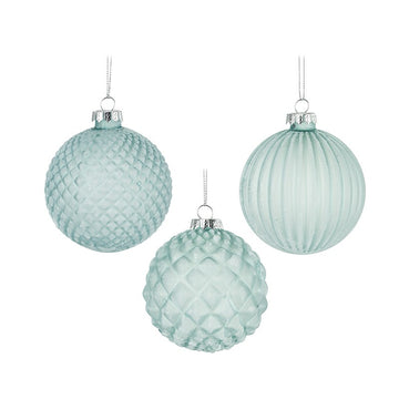 Frosted Blue Christmas Glass Hanging Bauble - Choose Design