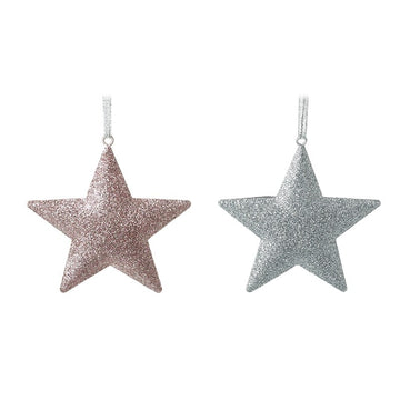 Glitter Hanging Star Decoration - Pink or Silver