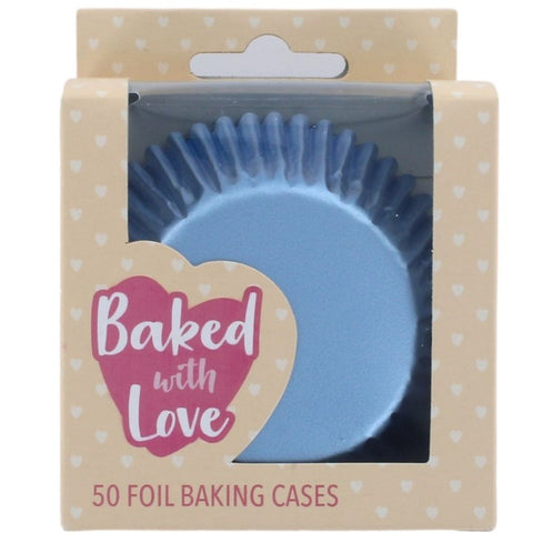Ice Blue Foil Cupcake Baking Cases