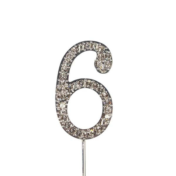 Diamante Number Cake Topper on pick -6