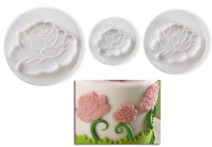 Pavoni Plunger Cutters Roses set of 3