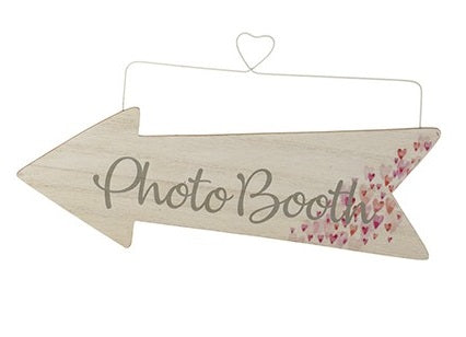 Wooden Event Arrow With Tiny Hearts and Wire Hanger - PHOTO BOOTH