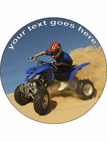 quadbike quads bike sport Personalised Edible Cake Topper Round Icing Sheet